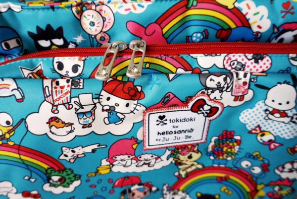 JuJuBe Rainbow Dreams Tokidoki Sanrio Hello Kitty Diaper Bag Be Prepared Zipper Pulls