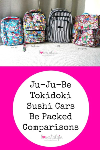 JuJuBe Sushi Cars Be Packed Tokidoki Comparisons BRB Black Magic Minibe Sanrio Hello Kitty BFF Be Sporty