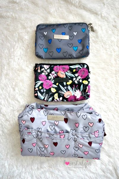 Jujube black and bloom gingham style print comparison floral diaper bag happy hearts rad hearts