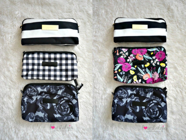 Jujube black and bloom gingham style print comparison floral diaper bag first lady black petals