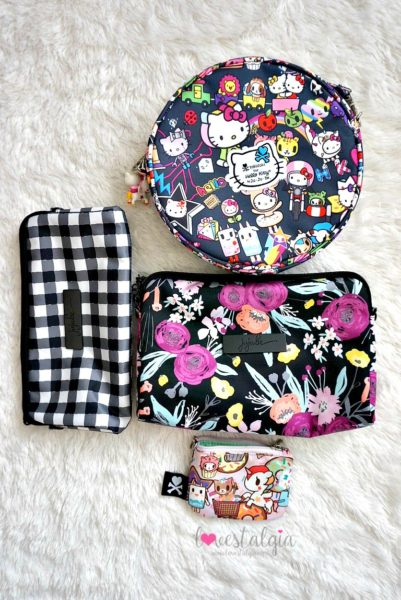 Jujube black and bloom gingham style print comparison floral diaper bag dream world donutella