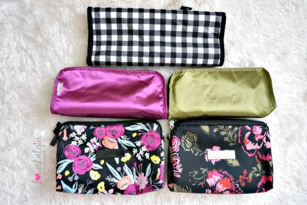 Jujube black and bloom gingham style print comparison floral diaper bag blooming romance lining