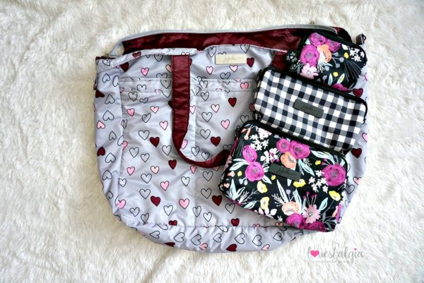 Jujube black and bloom gingham style print comparison floral diaper bag happy hearts super be