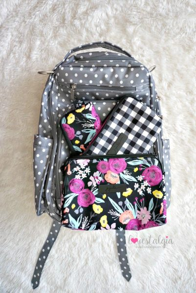 Jujube black and bloom gingham style print comparison floral diaper bag dot dot dot be right back brb