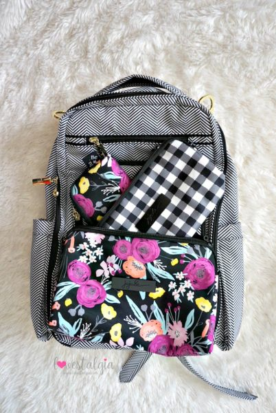 Jujube black and bloom gingham style print comparison floral diaper bag QOTN