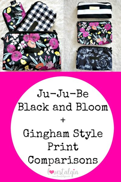 Jujube black and bloom gingham style print comparison floral diaper bag