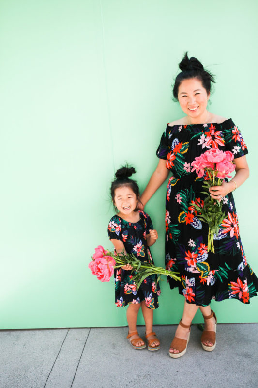 mommy blogger, stay-at-home mom, old navy, peonies, slay at home mom, blogger, mommy and me, matching outfits, twinning outfits, mommy and me outfits
