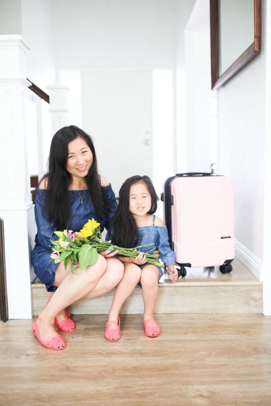 mommy and me, mommy and daughter, calpak luggage, millennial pink luggage, pink luggage, twinning outfits, travel essentials