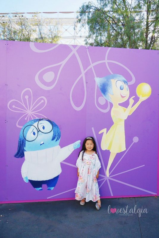 pixar pier, disneyland, disney california adventure, pixar fest, instagrammable photo op, instagram walls, pictures, inside out emotional whirlwind, inside out, joy and sadness