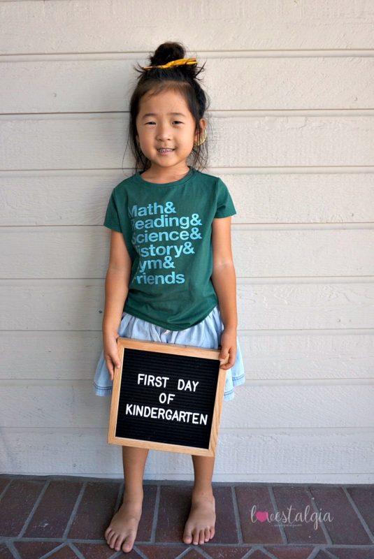 homeschooling, first day of school outfit, target style, letterboards, kindergarten