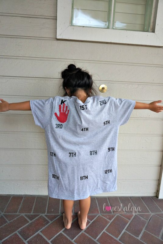 homeschooling, first day of school outfit, kindergarten, handprint shirt
