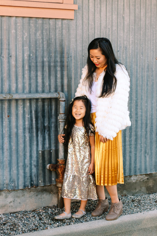 skylar yoo, fringe coat, gold skirt, target style, mommy blogger, mommy and me outfits, gold sparkle dress, toms shoes, mina loves bows