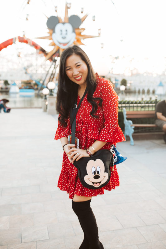 disneyland, disney california adventures, girls night out, lunar new year disneyland, get your ears on, mickey, minnie, disney style, minnie style, rock the dots, polka dots, balloons, disney moms, disney family, shop harvey, mickey mouse purse, disney bounding